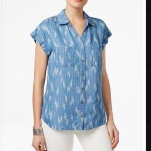 Style & Co Chambray Ikat Craze Top